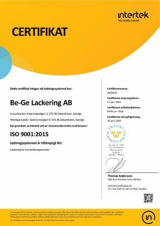 Certifikat 9001:2015 Be-Ge Lackering