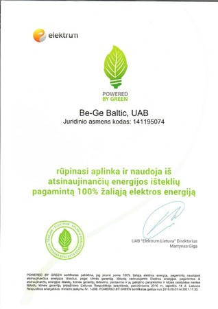 POWERED BY GREEN certificate